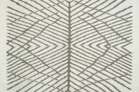 Contemporary Design 100% Pure Thai Silk - The Web in grey pattern an off-white background