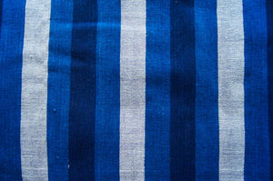 Handmade Natural Dyed 100% Cotton: Stripe Pattern. Thinner Yarn in Thinner Yarn in 2 tones Indigo Blue and off-white. Handwoven