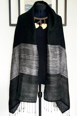Luxury Supersoft Silk Scarf in Textured Black and Silver Stripes (Design A.) Handspun and Handloomed. 100% Finest Quality Thai Silk.