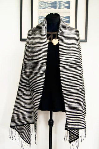 Luxury Supersoft Silk Scarf in Textured Black and White Stripes (Design C.) Handspun and Handloomed. 100% Finest Quality Thai Silk.