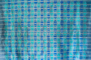 Contemporary Design 100% Pure Thai Silk - The Wave in Turquoise, electric blue and silvery grey