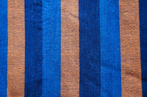 Handmade Natural Dyed 100% Cotton: Stripe Pattern. Thinner Yarn in Thinner Yarn in 2 tones Indigo Blue and Dark Brown. Handwoven