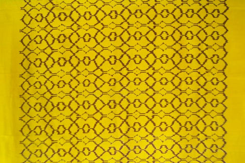 Contemporary Design 100% Pure Thai Silk - The Beehive Pattern in Bright Golden Yellow