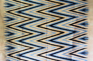 Contemporary Design 100% Pure Thai Silk - The Zigzag Pattern in Golden Sand, black and silver