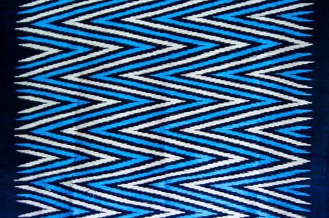 Contemporary Design 100% Pure Thai Silk - The Zigzag Pattern in Electric Blue, black and silver