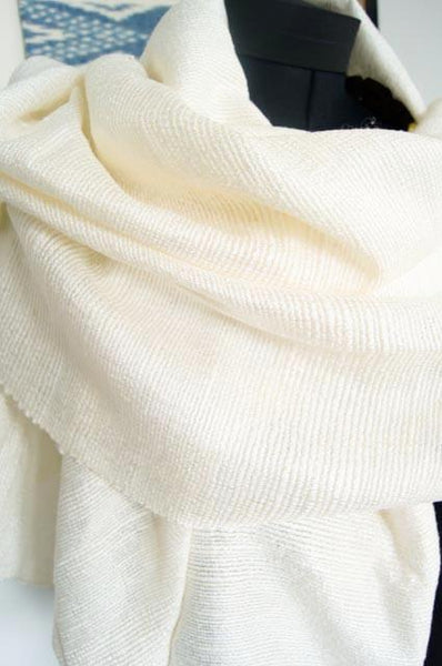 Luxury Supersoft Silk Scarf in Textured Classic Pure White (Design H.) Handspun and  Handloomed. 100% Finest Quality Thai Silk.