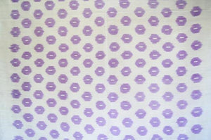 Contemporary Design 100% Pure Thai Silk - The Lavender Touch Pattern with an off-white background