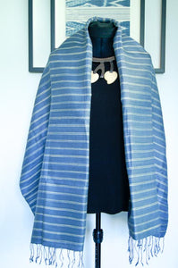 Breezy Beach Luxury Silk Scarf in Powder Blue with White Stripes. Handspun and Handloomed. 100% Finest Quality Thai Silk.