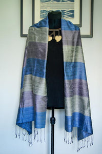 Breezy Beach Luxury Silk Scarf in Metallic Blue Block. Handspun and Handloomed. 100% Finest Quality Thai Silk.