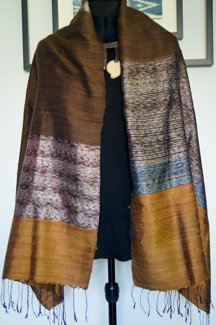 Breezy Beach Luxury Silk Scarf in Golden Sand with Brown and Blue Stripes. Handspun and Handloomed. 100% Finest Quality Thai Silk.