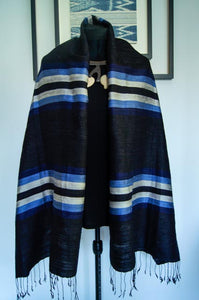 Breezy Beach Luxury Silk Scarf in Midnight Beach Black with Silver and Blue Stripes. Handspun and Handloomed. 100% Finest Quality Thai Silk.