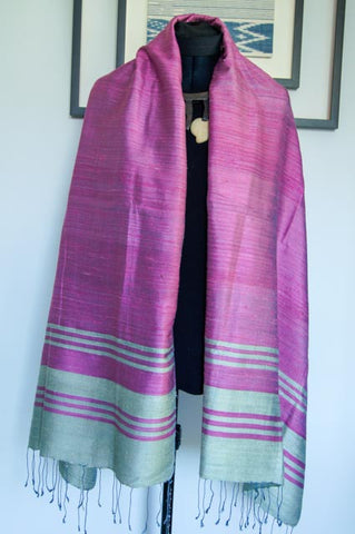 Breezy Beach Luxury Silk Scarf in Blossom Pink with Classy Silver Stripes. Handspun and Handloomed. 100% Finest Quality Thai Silk.