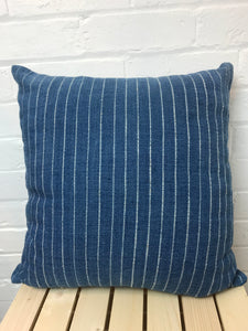 Cushion cover with exclusive design handspun & hand woven cotton 'Indigo Stripe'