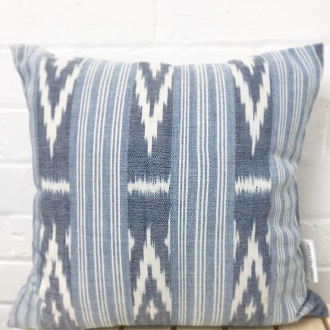 Cushion cover with exclusive design handspun & hand woven cotton 'Ikat Cotton (Light Blue)""