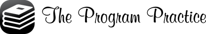 The Program Practice Corporate Logo.   The logo has Black script fonts, and the Favicon to the left side in black.   Copyright 2017 The Program Practice