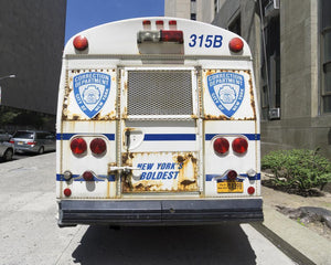 NYC Corrections Department Prisoner Bus rear view, taken June 13, 2015.   Depositphotos Flexible Plan Stock Image File # 94893570 by lifede (federico Rostagno)