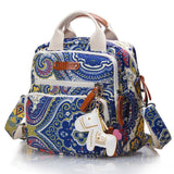 Mini Canvas Cross-Body Changing Bag - Blue Paisley