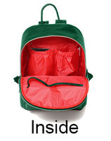 Medium Faux Leather Rucksack Changing Bag - Green with Red Interior