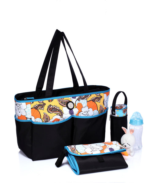 Tote Baby Changing Bag – Sun & Sea (Yellow & Blue)