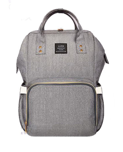 Bucket Zip Backpack Changing Bag - Light Grey