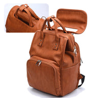 Faux Leather Bucket Zip Backpack Changing Bag - Tan