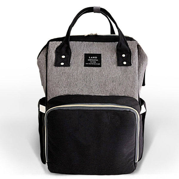 Bucket Zip Backpack Changing Bag - Black & Grey