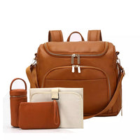 Faux Leather Multiway Changing Bag Set - Tan