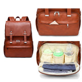 Faux Leather Satchel Backpack Changing Bag - Tan