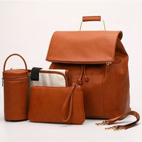 Faux Leather Rucksack Changing Bag Set - Tan