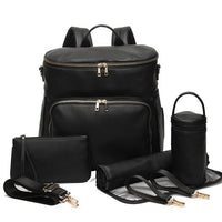 Faux Leather Backpack Changing Bag Set with USB Port - Black
