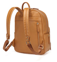 Medium Faux Leather Rucksack Changing Bag - Tan