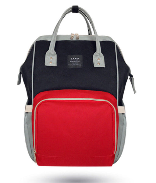 Bucket Zip Backpack Changing Bag - Black & Red