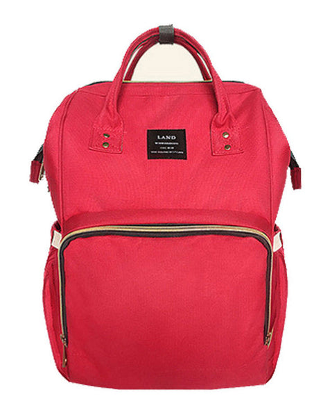 Bucket Zip Backpack Changing Bag - Red