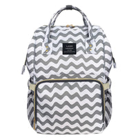 Bucket Zip Backpack Changing Bag - Grey Chevron