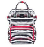 Bucket Zip Backpack Changing Bag - Black & Red Stripes