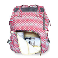 Bucket Zip Backpack Changing Bag - Red & White Triangles