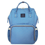 Bucket Zip Backpack Changing Bag - Blue & White Triangles