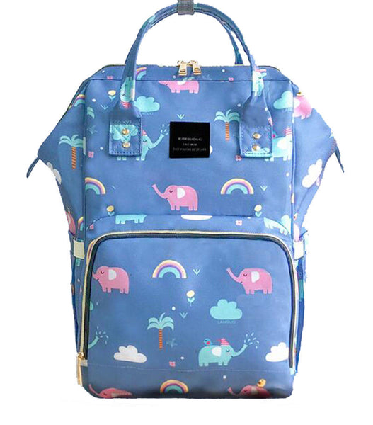 Bucket Zip Backpack Changing Bag - Elephants & Rainbows