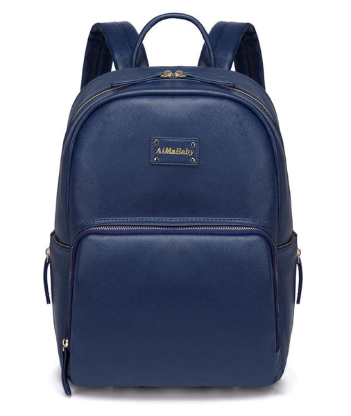 Medium Faux Leather Rucksack Changing Bag - Navy Blue