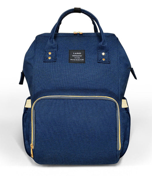Bucket Zip Backpack Changing Bag - Blue