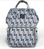 Bucket Zip Backpack Changing Bag - Pink & Blue Triangles