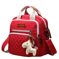 Mini Canvas Quilt Cross-Body Changing Bag - Hot Red
