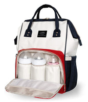 Bucket Zip Backpack Changing Bag - White & Red