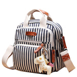 Mini Canvas Quilt Cross-Body Changing Bag - Nautical Stripes