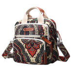 Mini Canvas Quilt Cross-Body Changing Bag - Black Paisley