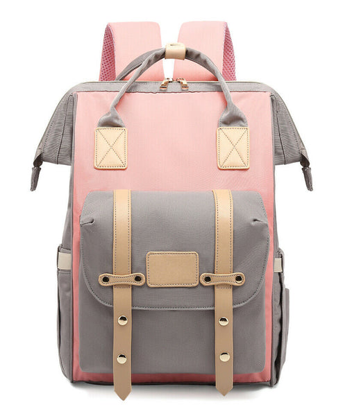 Bucket Zip Backpack Changing Bag with Pram Hooks & Removable Bottle Holder - Pink / Beige