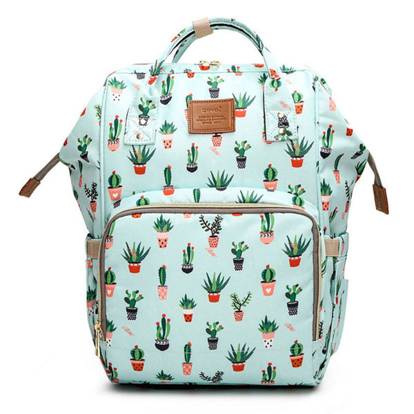 Bucket Zip Backpack Changing Bag - Cactus Print