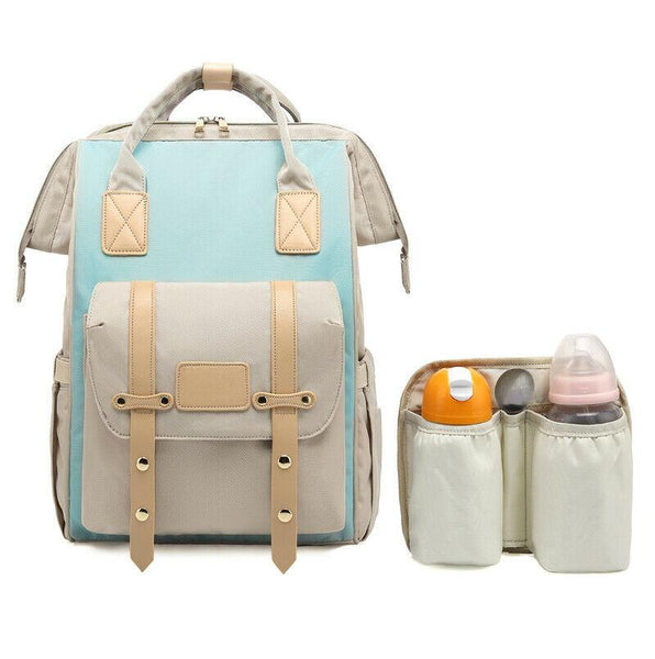 Bucket Zip Backpack Changing Bag with Pram Hooks & Removable Bottle Holder - Blue / Beige