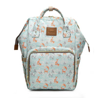 Bucket Zip Backpack Changing Bag - Snow Fox Print