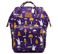 Bucket Zip Backpack Changing Bag - Purple Woodland Bears
